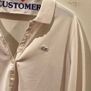 Lacoste long sleeve white polo shirt